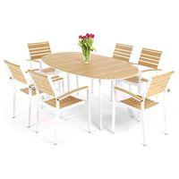 Meble ogrodowe aluminiowe lorenzo white/teak home&garden (889684) marki Home garden