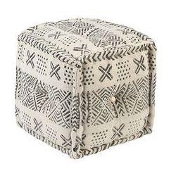Qazqa Orientalny kwadratowy puf 40x40cm czarny z ecru - new delhi