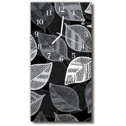 Zegar Szklany Pionowy Natura Liście rośliny srebrny