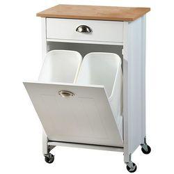 Barek na kółkach z koszem do segregacji śmieci, drewniany wózek w kolorze białym