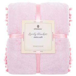 Narzuta na łóżko z pomponami, pled 160x200 cm koc na kanapę różowy marki Springos