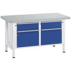 Stół warsztatowy, stabilny, 2 szuflady, 2 drzwi, okładzina z blachy stalowej, cz