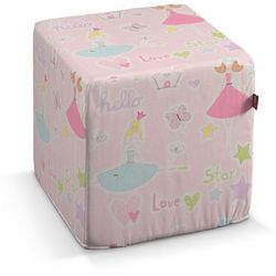 pufa kostka, pastelowe wzory na różowym tle, 40 × 40 × 40 cm, little world marki Dekoria