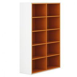 Szafa otwarta White LAYERS, pomarańczowe półki, kolor biały