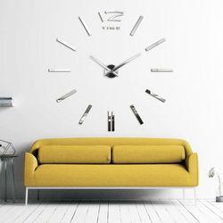 MINIMALISTYCZNY zegar na ścianę srebrny srebrny większa niż 50 cm