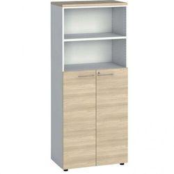 Szafa biurowa, drzwi na 3 półki, 1781 x 800 x 420 mm, biały/dąb naturalny