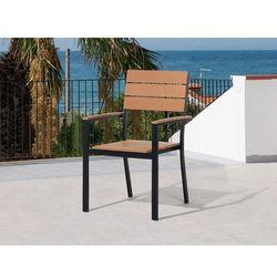 Krzesło ogrodowe brązowe - tarasowe - balkonowe - aluminium - como od producenta Beliani