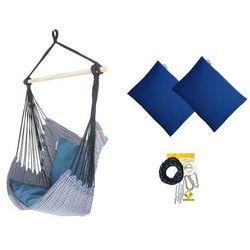 Fotel hamakowy z poduszkami i zestawem montażowym, Granatowy Etno + HP-113 + koala/fix/ch1