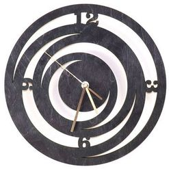 Drewniany zegar na ścianę Spirale ze złotymi wskazówkami (5907509932519)