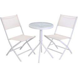 Zestaw mebli ogrodowych, balkonowych: 2 krzesła + okrągły stolik