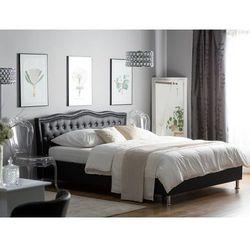 Łóżko czarne skóra ekologiczna podnoszony pojemnik 180 x 200 cm METZ