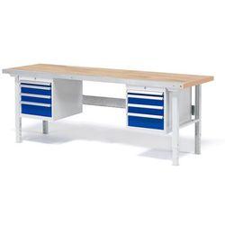 Stół roboczy solid, zestaw z 8 szufladami, 750 kg, 2000x800 mm, dąb marki Aj produkty