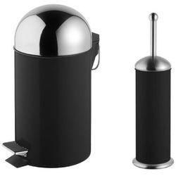 Bisk Zestaw kosz na śmieci grenada czarny poj. 3l + szczotka wc grenada czarna