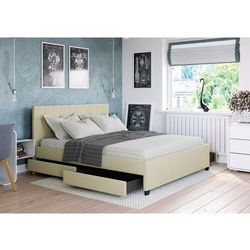 Big meble Łóżko 140x200 tapicerowane modena + 4 szuflady + materac sawana beżowe