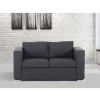 Sofa ciemnoszara - dwuosobowa - kanapa - sofa tapicerowana - HELSINKI, kolor szary