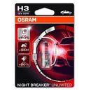 OSRAM H3 12V 55W PK22s NIGHT BREAKER® UNLIMITED (do +110% więcej światła, do 35m-40m dłuższy zasięg,do +20% bielsze światło), O-64151NBU-01B PL