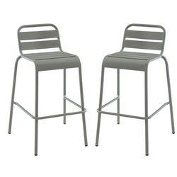 Zestaw 2 sztaplowanych barowych stołków ogrodowych MIRMANDE z metalu – kolor szary