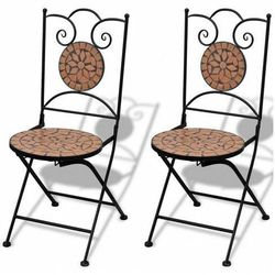 Zestaw ceramicznych krzeseł ogrodowych leah - brązowy marki Elior
