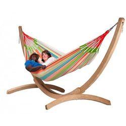 Zestaw hamakowy: hamak rodzinny domingo ze stojakiem canoa, kolorowy doh18cns201 marki La siesta