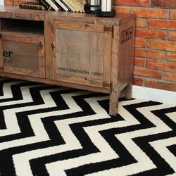 Wełniany dywan CHEVRON BLACK WHITE I - White Oaks 170 x 240 cm