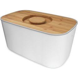 Stalowy chlebak z bambusową deską do krojenia  biały wyprodukowany przez Joseph joseph