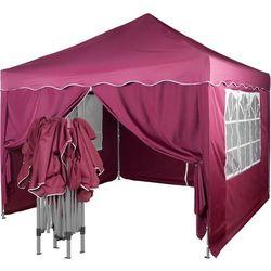 Instent ® Ekspresowy pawilon namiot ogrodowy handlowy 3x3m + 4 ścianki - czerwony (odcień bordowy)