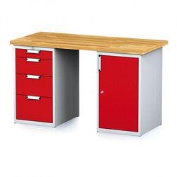 B2b partner Stół warsztatowy mechanic, 1500x700x880 mm, 1x 4 szufladowy kontener, 2x szafka, szary/czerwony