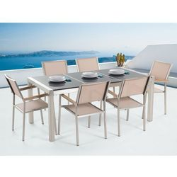 Meble ogrodowe - stół granitowy 180 cm szary polerowany z 6 beżowymi krzesłami - grosseto od producenta Beliani