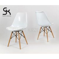 Sk design  kr020 białe krzesło drewniane nogi - koszyk - biały \ drewno buk