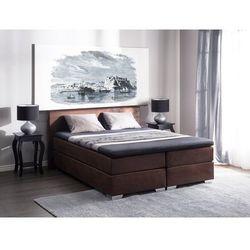 Łóżko kontynentalne skóra ekologiczna brązowe 180 x 200 cm PRESIDENT, kolor brązowy