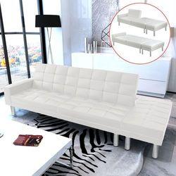 vidaXL Rozkładana sofa z białej eko skóry z kategorii Sofy