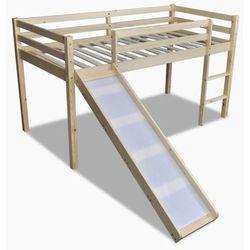 Wysokie łóżko dziecięce ze zjeżdżalnią i drabinką, naturalne drewno