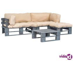 vidaXL Meble ogrodowe z palet, 4 szt., drewno FSC, piaskowe poduszki (8718475727972)