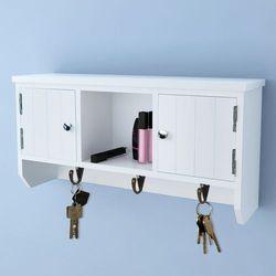 Vidaxl  wisząca szafka na klucze/biżuterię z drzwiczkami i haczykami (8718475933311)