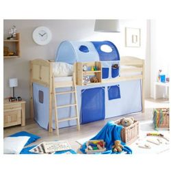 Ticaa łóżko z drabinką eric country sosna naturalna/jasnoniebieski-ciemnoniebieski, marki Ticaa kindermöbel