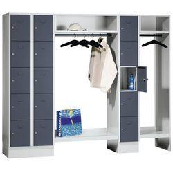 Eugen wolf System garderob ze schowkami, 15 przedziałów po lewej stronie / w środku, 15 wie
