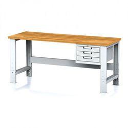 Stół warsztatowy MECHANIC, 2000x700x700-1055 mm, nogi regulowane, 1x szufladowy kontener, 3 szuflady, szare