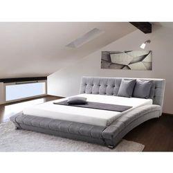 Nowoczesne łóżko tapicerowane ze stelażem 160x200 cm - LILLE szare (7081457517894)