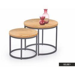 SELSEY Zestaw stolików kawowych Yese o średnicy 53cm i 43 cm dąb złoty - czarny