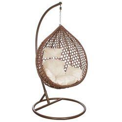 Fotel wiszący huśtawka ogrodowa kokon brązowy z beżowymi poduszkami (5909230000895)