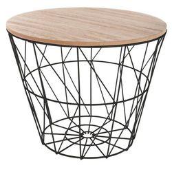 Atmosphera créateur d'intérieur Okrągły stolik kawowy na czarnej podstawie, mały stolik, stolik do kawy, stolik do pokoju, stolik do salonu, czarny stolik (3560234529854)