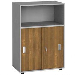 Szafa biurowa kombinowana, przesuwne drzwi, 1087 x 800 x 420 mm, orzech marki B2b partner