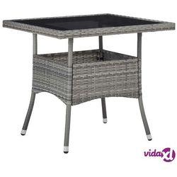 Vidaxl stół ogrodowy, szary, polirattan i szkło