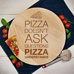 Mygiftdna Pizza doesn't ask - deska obrotowa - deska obrotowa