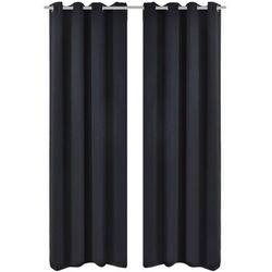 Vidaxl Czarne zasłony zaciemniające z metalowymi otworami x2 135 x 245 cm
