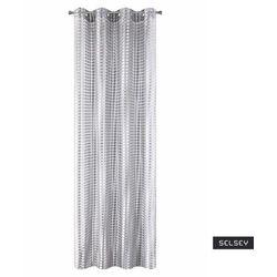 firana na przelotkach kergal 140x250 cm o strukturze siateczki o grubych oczkach srebrna marki Selsey