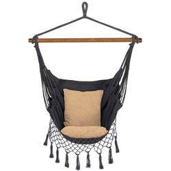 Hamak brazylijski z poduszkami 130x100cm fotel wiszący szaro-beżowy