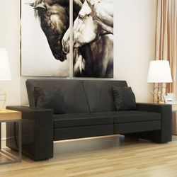 vidaXL Rozkładana kanapa z dużym oparciem, czarna - produkt z kategorii- Sofy