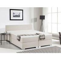 Łóżko kontynentalne 180x200 cm - łóżko tapicerowane - president beżowe marki Beliani