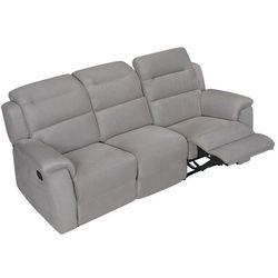 Sofa 3-osobowa typu relaks SIMONO z mikrofibry — jasnoszara